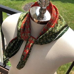 Echo Accessories - Echo vintage geometric green/red silk square scarf